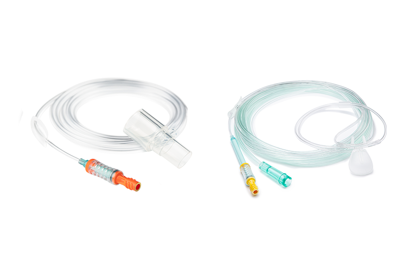 Group picture of NomoLine-O with airway adapter and cannula