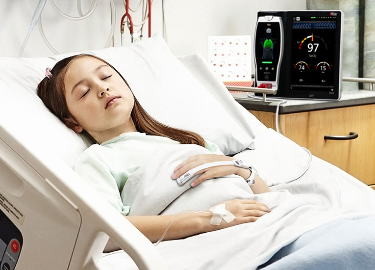 Masimo - Child using RRp in hospital bed